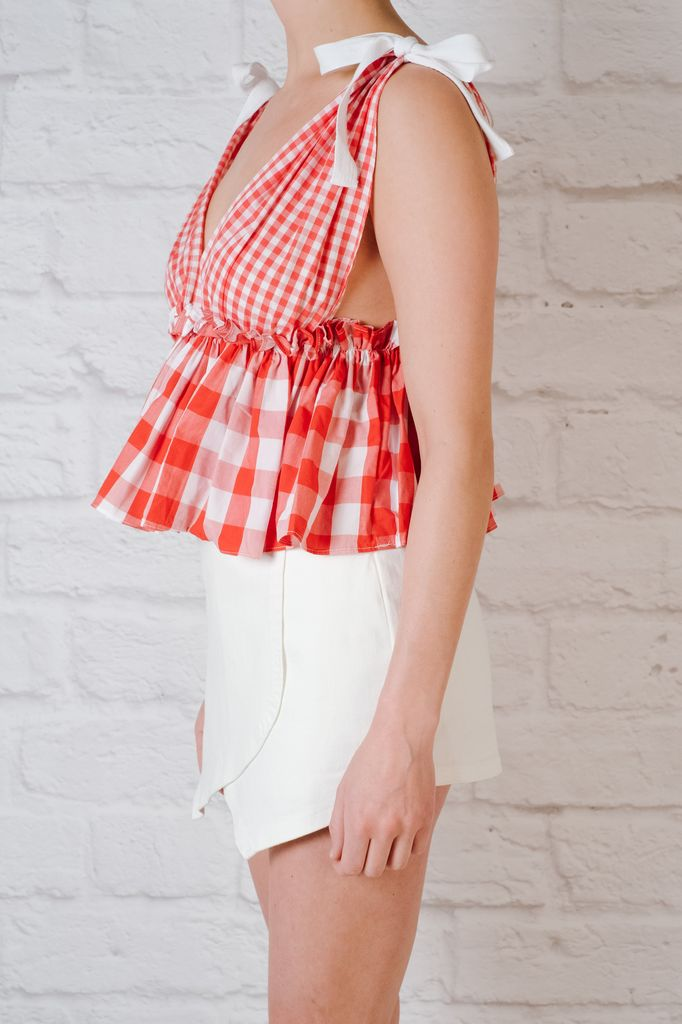 Blouse Red gingham babydoll tank