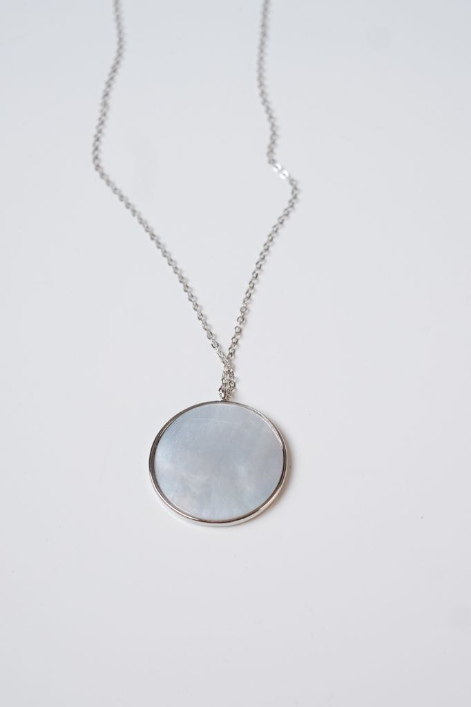 Long Silver mother of pearl pendant