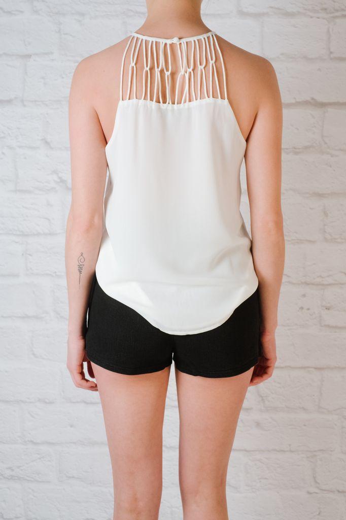 Tank White woven neck blouse