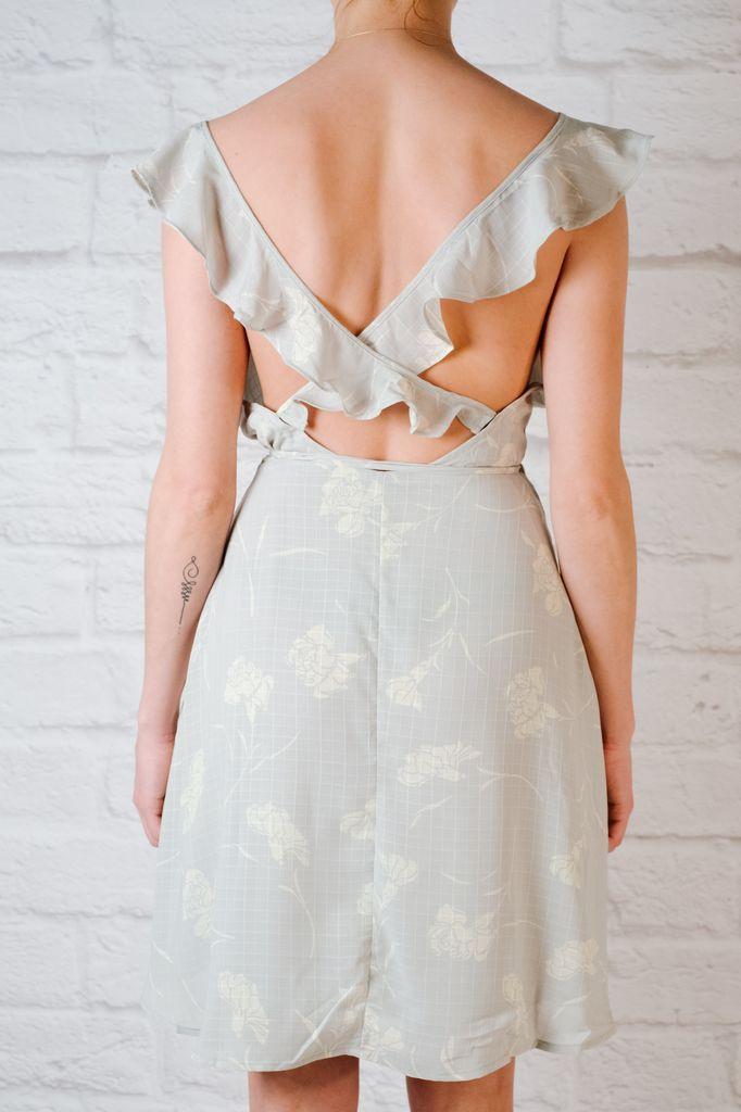 Mini Sage Floral Wrap Dress