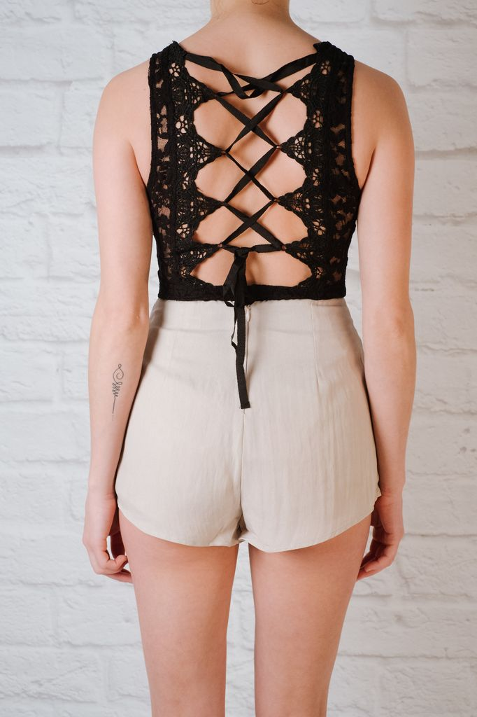 Bodysuit Black laced back bodysuit