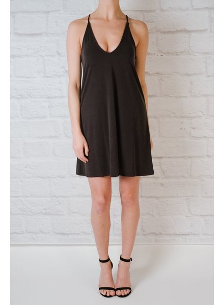 Casual Faded Black Jersey Dress