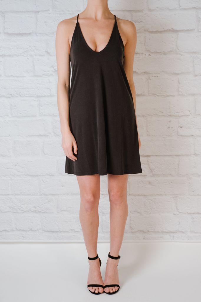 Casual Faded Black Jersey Dress