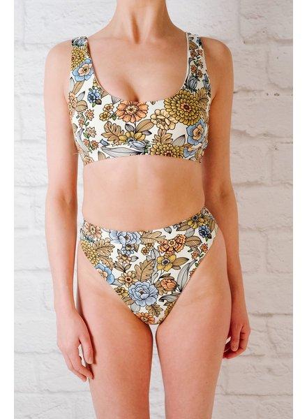 Bikini Vintage floral high cut banded bottom