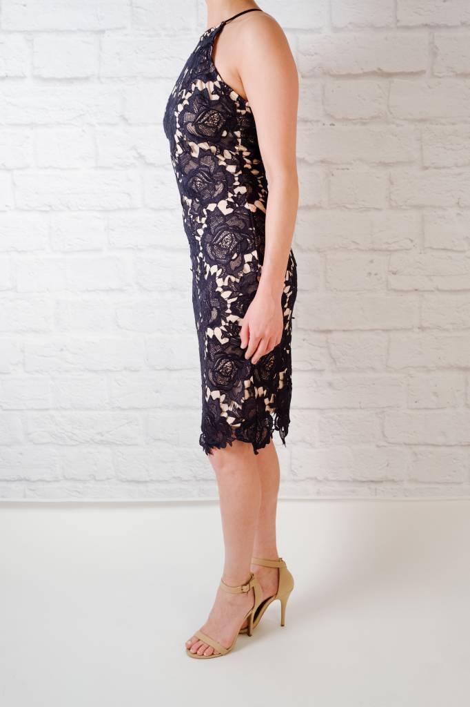 Midi Navy Lace Overlay Dress