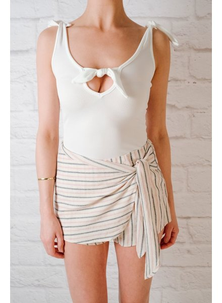 Skirt Striped Side Tie Skort