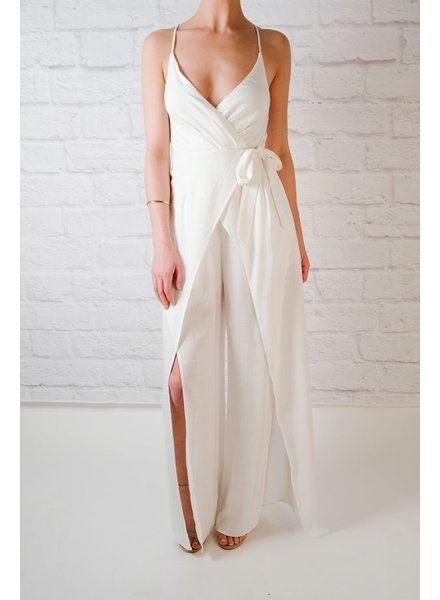 Dressy White knot jumpsuit