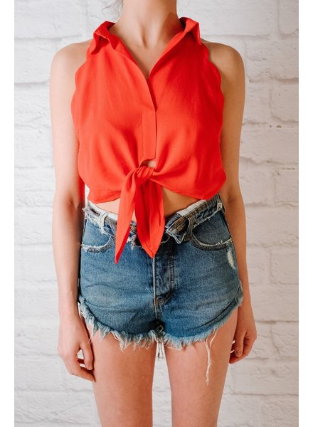 Tank Scalloped Tie Front Top