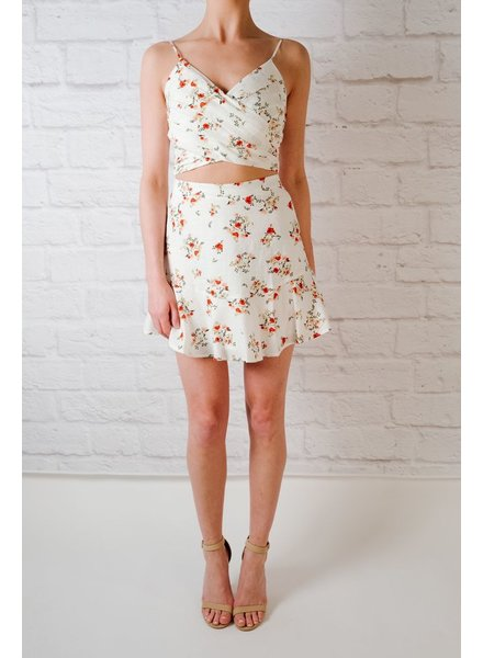 Crop Ditsy Floral Pleated Crop