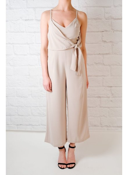 Khaki side tie jumpsuit