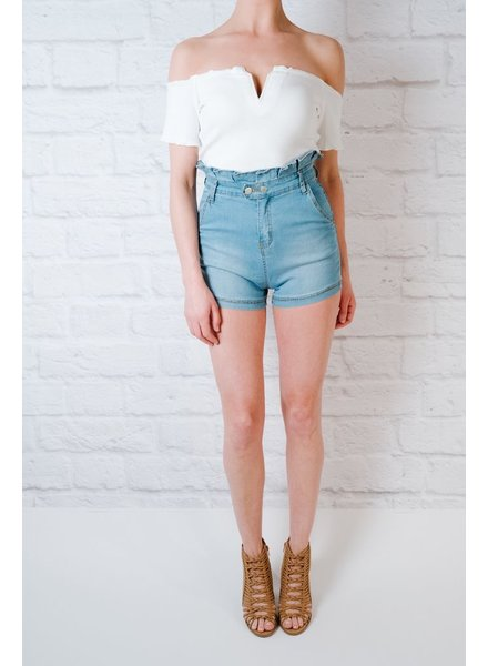Shorts Ruffle Top Denim Shorts