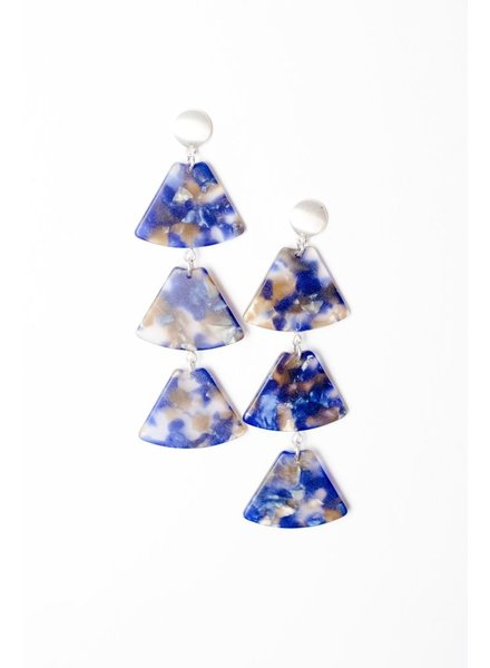 Trend Blue Resin Tiered Earring