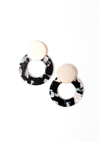 Trend Gold And Resin Disk Earring