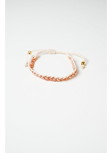 Trend White and rose braided bracelet