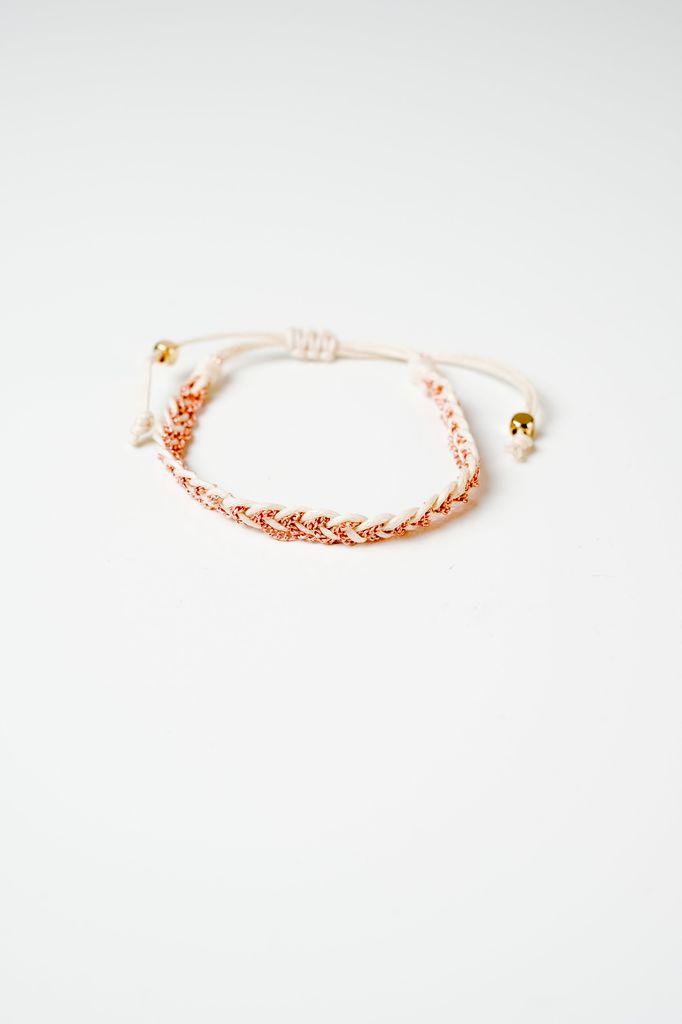 Trend White and rose braided bracelet