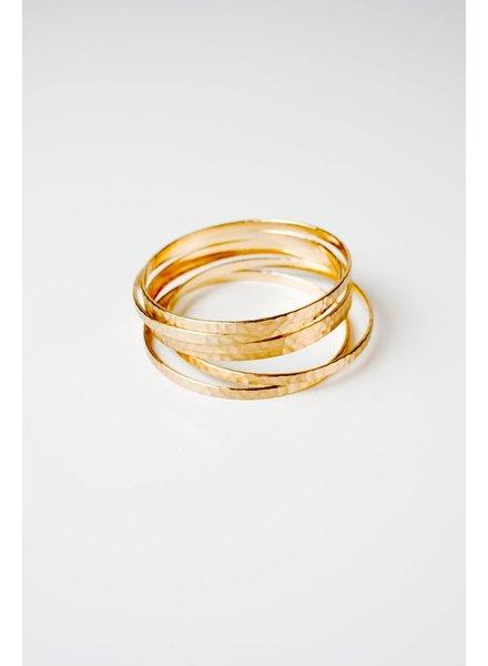 Gold Hammered gold bangles