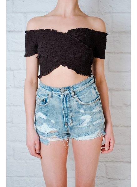 Shorts Distressed High Rise Denim Shorts
