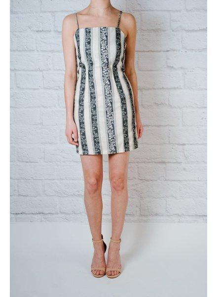 Mini Black Tapestry Tie Back Dress