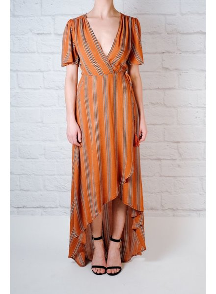 Maxi Rust Striped Wrap Maxi