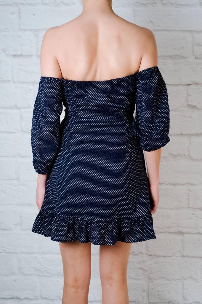 Mini OTS Ruffled Peasant Dress