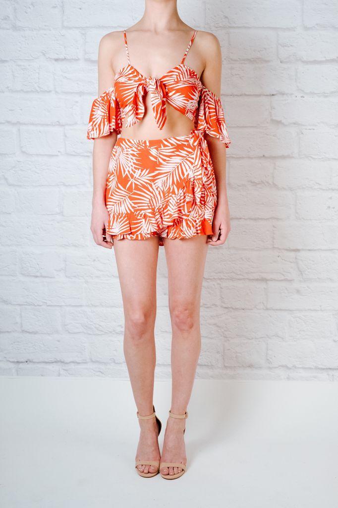 Shorts Red Palm Print Shorts