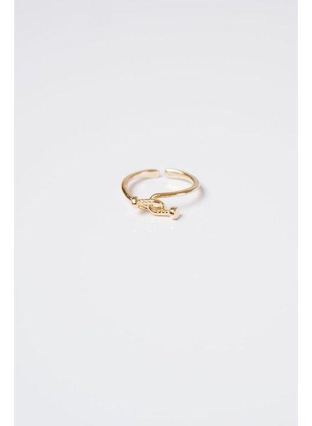 Gold Nail Crossover Ring