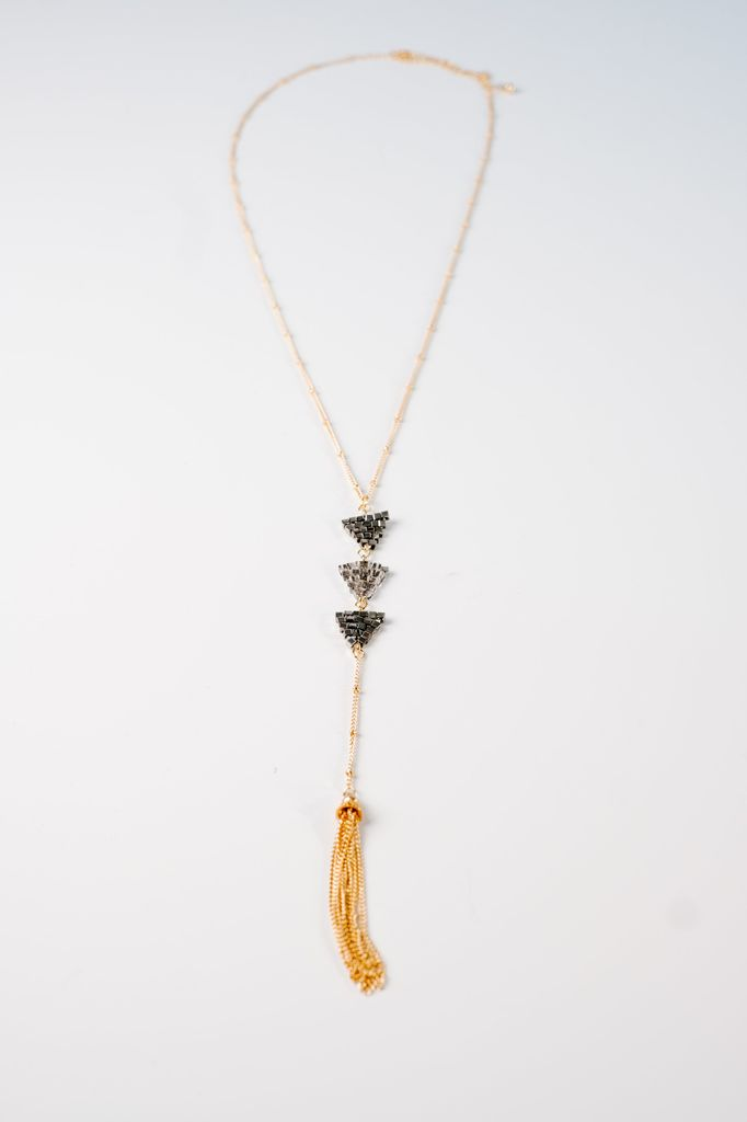 Long Long Beaded Y Necklace