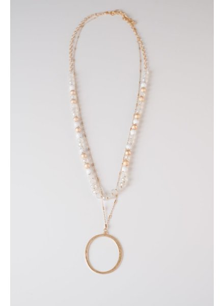 Trend White Beaded O Necklace
