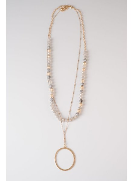 Trend Grey Beaded O Necklace