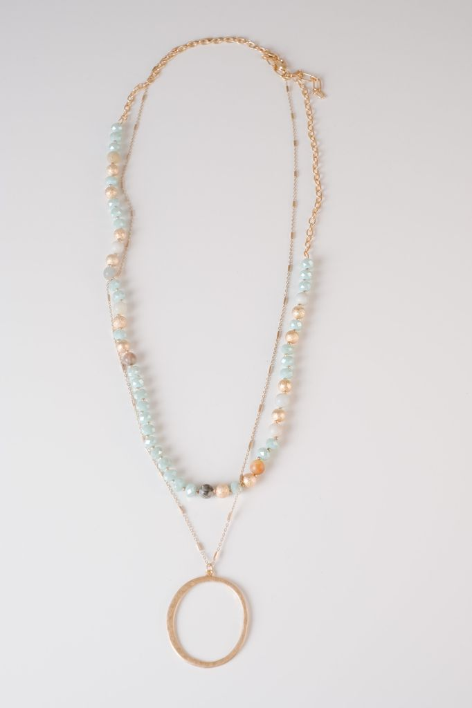 Trend Mint Beaded O Necklace