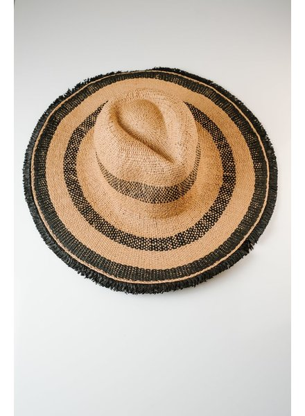 Hat Black and tan striped hat