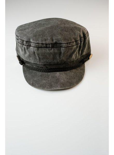 Hat Black button cap