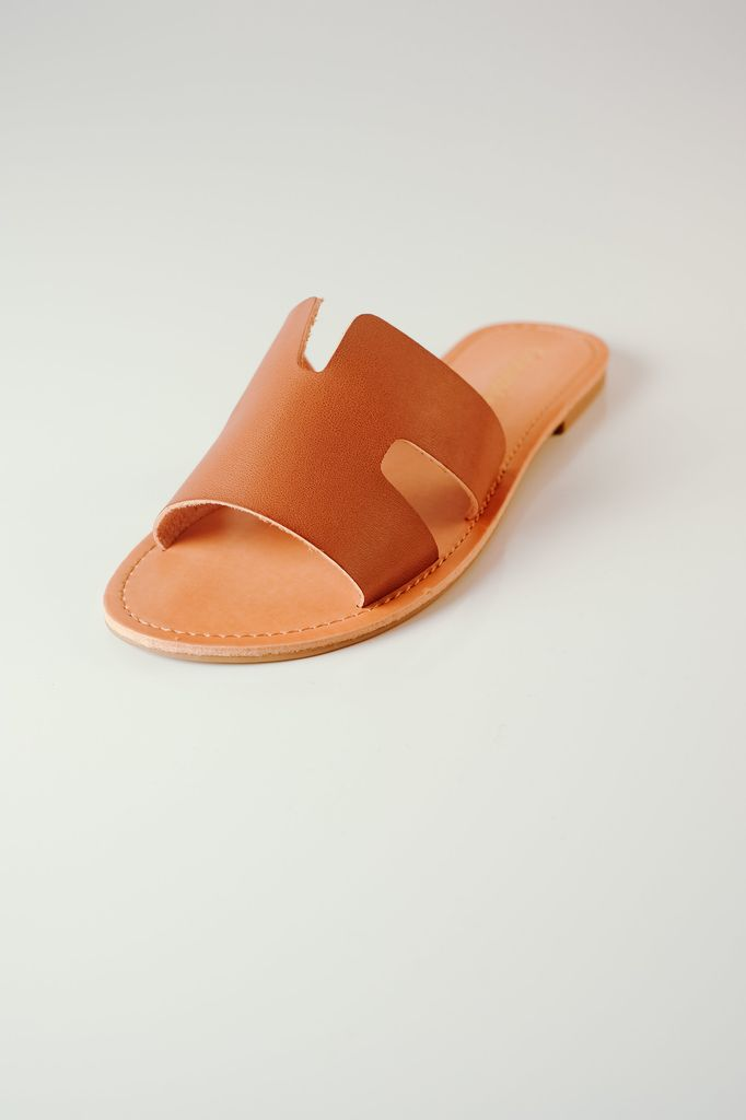 Sandal Cognac Cut-Out Slide