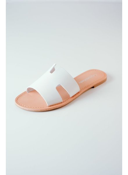 Sandal White Cut-Out Slide