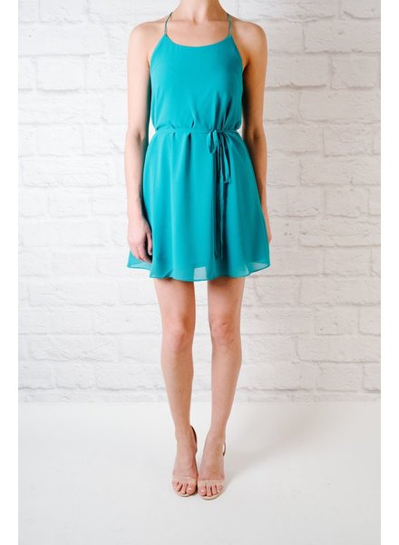 Mini Turquoise String Strap Dress