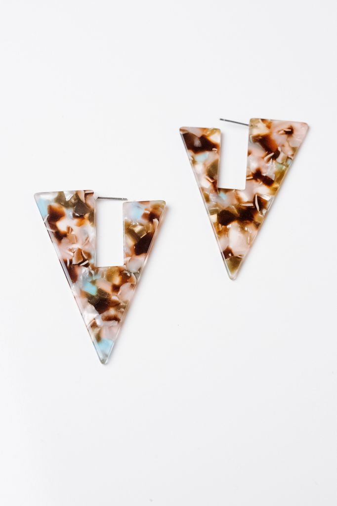 Trend Resin Triangle Cutout Earring