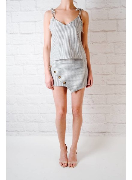 Skirt Striped Button Front Skirt