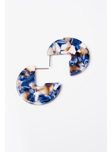 Trend Blue Cutout Hoop Earrings