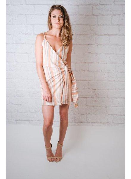 Mini Orange and Ivory Tie Front Dress