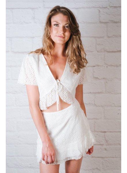 Skirt White Crochet Mini Skirt