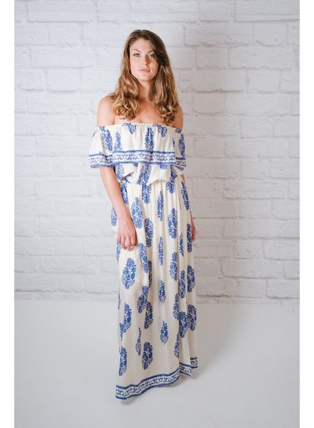 Maxi Blue Printed OTS Maxi Dress