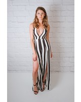 Jumpsuit B&W Vertical Striped Jumpsuit