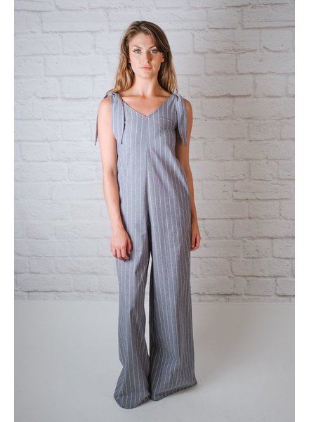 Jumpsuit Blue Striped Linen Jumpsuit