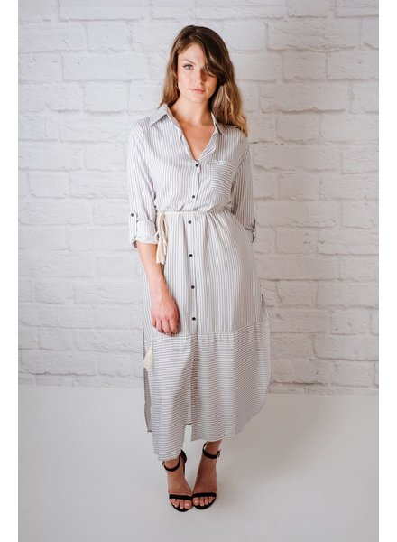 Midi Striped Midi Shirt Dress
