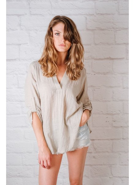 Blouse Taupe Button Sleeve Blouse