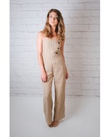 Jumpsuit Striped Button Front Jumpsuit
