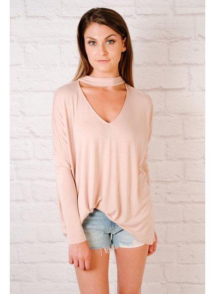 T-shirt Blush Choker Neck Tee