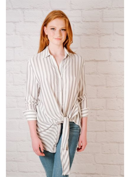Blouse Striped Tie Front Blouse