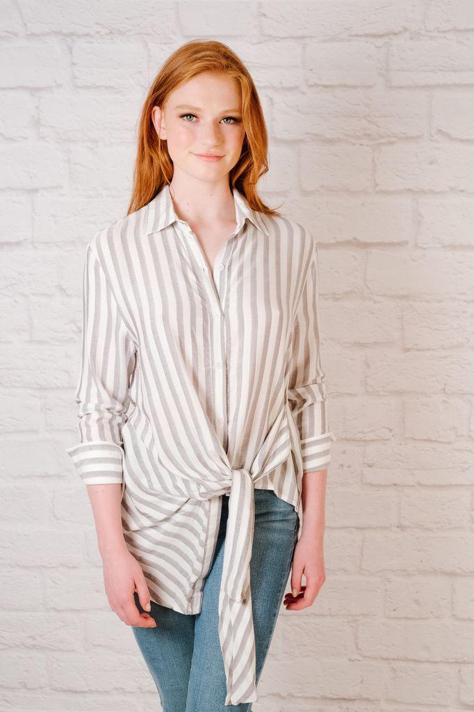 Blouse Striped Tie Front Blouse