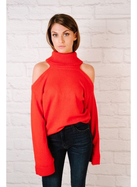 Knit Cold Shoulder Turtleneck